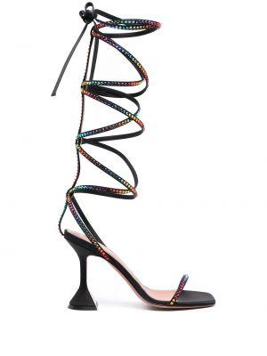 Открытые черные босоножки на каблуке Amina Muaddi