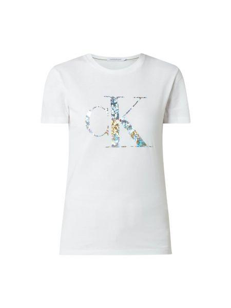 Bawełna biały koszula jeansowa z dekoltem okrągły Calvin Klein Jeans