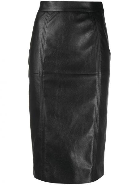 Облегающая кожаная черная юбка карандаш со вставками Incotex