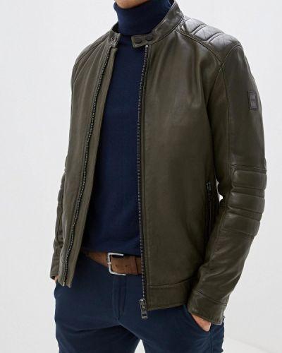 Кожаная куртка осенняя зеленая Boss