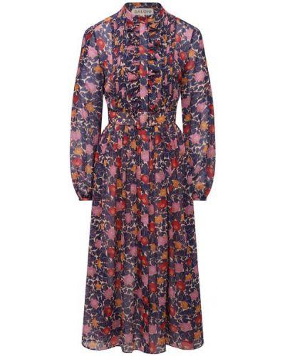 Шелковое синее платье с подкладкой Saloni