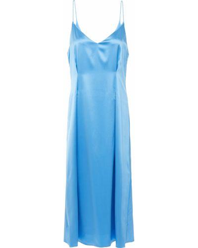 Плиссированное синее платье миди с подкладкой SamsØe Φ SamsØe