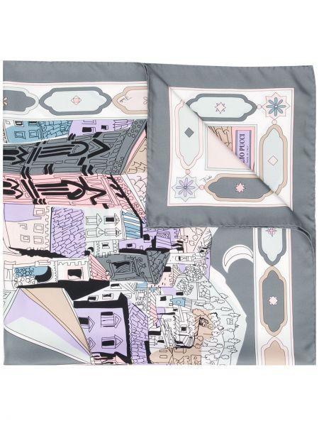 Облегченный серый шелковый платок Emilio Pucci