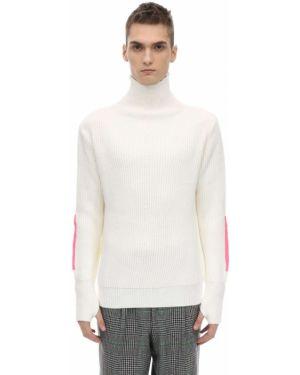 Prążkowany biały sweter wełniany Lc23