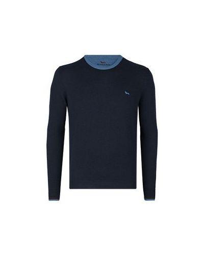 Хлопковый синий свитер Harmont&blaine