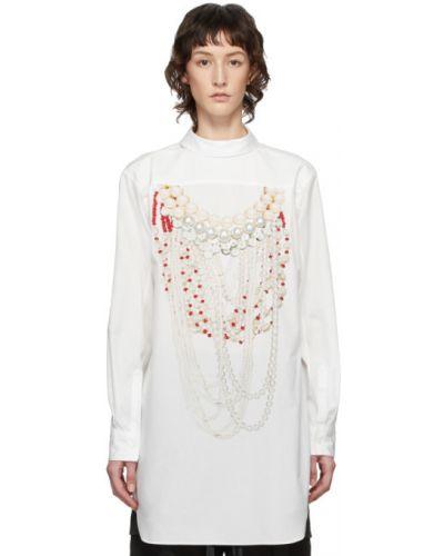 Хлопковое белое платье макси с длинными рукавами с воротником Comme Des Garçons Homme Plus