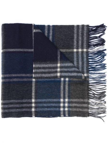 Синий кашемировый шарф в клетку Barbour
