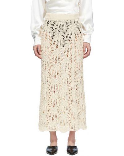 Ażurowy bawełna biały spódnica maxi na sznurowadłach Jil Sander