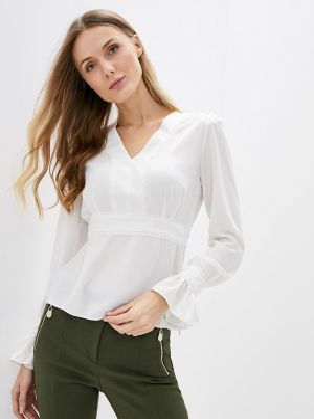 Блузка с длинным рукавом белая осенняя Adl
