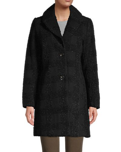 Шерстяное черное длинное пальто с воротником T-tahari