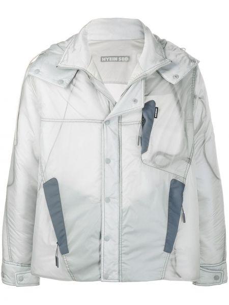 Серая прямая классическая нейлоновая куртка с капюшоном Hyein Seo