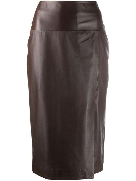 Кожаная коричневая с завышенной талией юбка миди матовая Arma