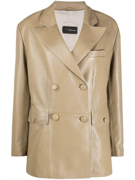 Бежевый кожаный удлиненный пиджак двубортный Manokhi