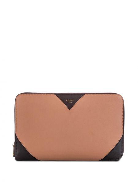 Розовый кожаный кошелек со вставками с карманами на молнии Céline Pre-owned