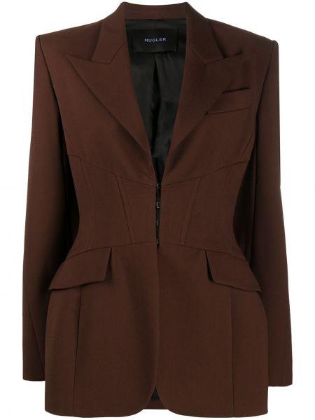 Шерстяной коричневый приталенный пиджак с карманами Mugler