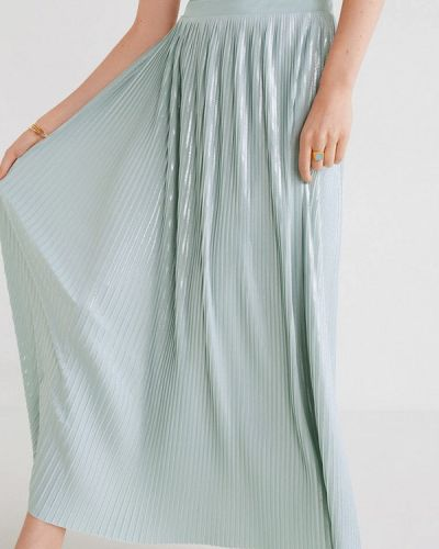 Плиссированная юбка весенняя бирюзовый Mango