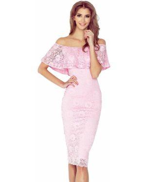 Różowa sukienka koronkowa materiałowa Morimia