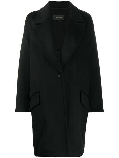 Czarny jednorzędowy wełniany długi płaszcz z kieszeniami Isabel Marant