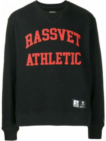 Czarna bluza bawełniana z printem Rassvet