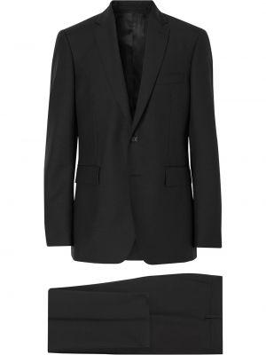 Czarny kostium garnitur z klapami z kieszeniami Burberry