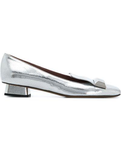 Серебряные кожаные балетки Rayne