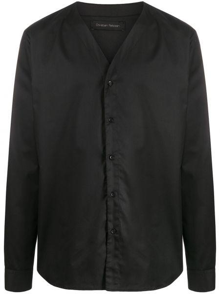 Czarna koszula bawełniana z długimi rękawami Christian Pellizzari