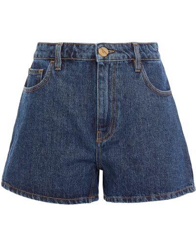 Синие хлопковые джинсовые шорты с поясом Mcq Alexander Mcqueen