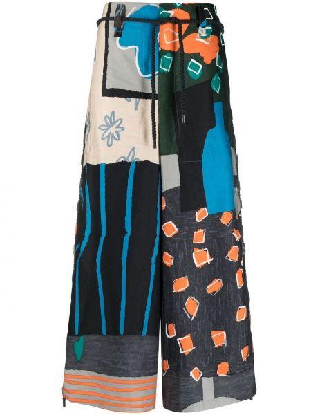 Brązowe spodnie z wysokim stanem z paskiem Issey Miyake