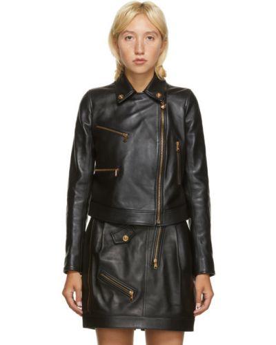 Черная кожаная длинная куртка для полных Versace