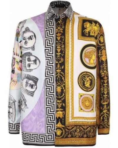 Джинсовая рубашка пэчворк шелковая Versace