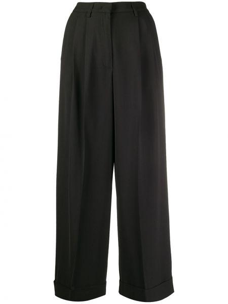 Шерстяные черные укороченные брюки с поясом свободного кроя Fabiana Filippi