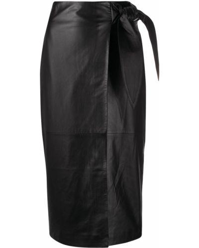 Черная кожаная юбка миди с завязками Arma