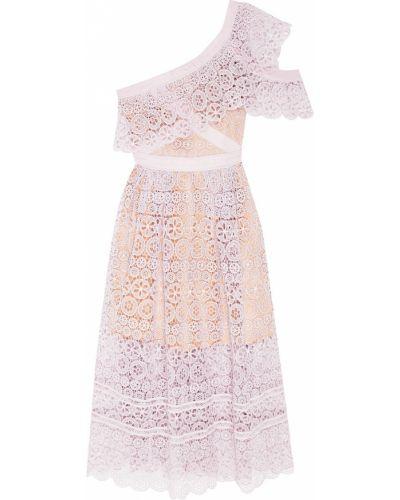 Платье миди коктейльное с цветочным принтом Self-portrait