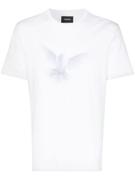 Biały t-shirt bawełniany z printem 3.paradis