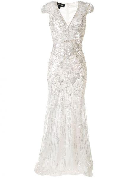 Белое платье макси с вышивкой без рукавов Jenny Packham