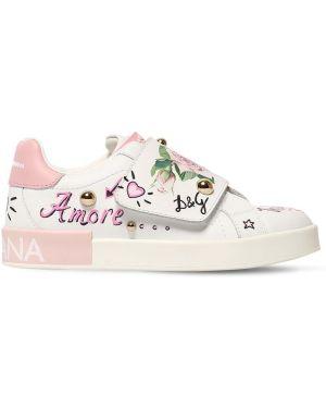 Sneakersy skórzany Dolce And Gabbana