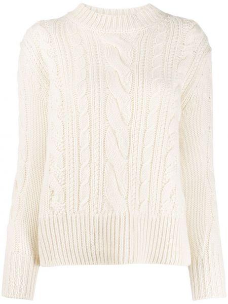 Белый длинный свитер круглый с вырезом Agnona