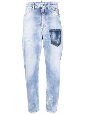 Кожаные синие зауженные джинсы с завышенной талией Dsquared2
