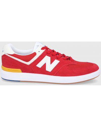 Czerwone sneakersy skorzane sznurowane New Balance