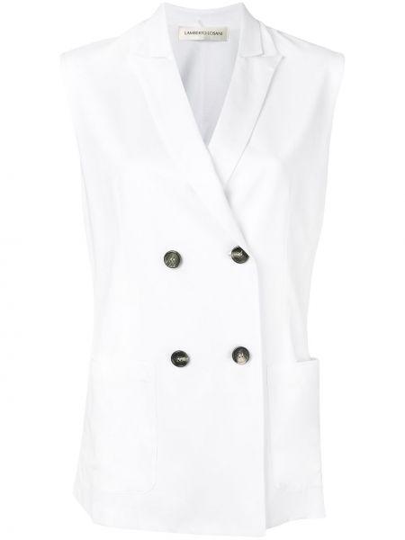 Белая классическая жилетка с карманами с лацканами Lamberto Losani