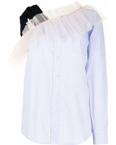 Хлопковая синяя рубашка на одно плечо Viktor & Rolf