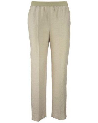 Beżowe lniane spodnie Agnona