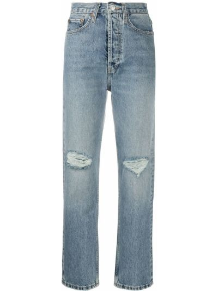 Bawełna niebieski jeansy do kostek z kieszeniami z łatami Re/done