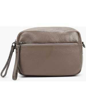 Кожаная сумка через плечо серая Valensiy
