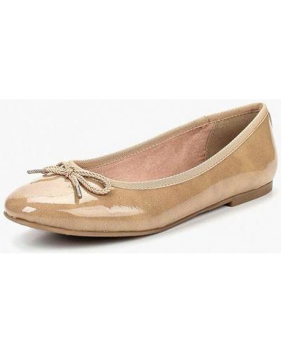Бежевые балетки кожаные Tamaris