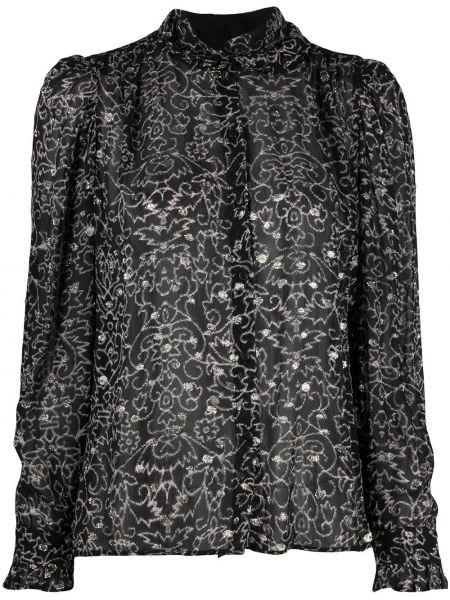 Черная рубашка с вышивкой с воротником из вискозы Ba&sh