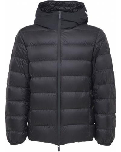 Czarny kurtka z kapturem z haftem Moncler