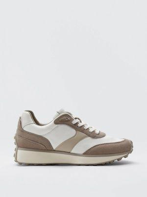 Бежевые кроссовки осенние Massimo Dutti
