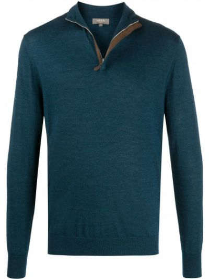 С рукавами синий шелковый джемпер с манжетами N.peal