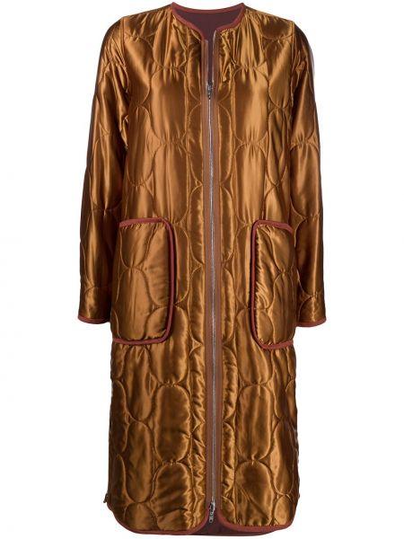 Хлопковое коричневое стеганое длинное пальто Kenzo